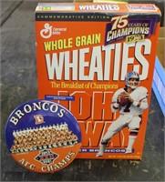 Unopened Wheaties Box, Broncos Button