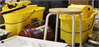 (2) Mop Buckets, Air Tank, Stool