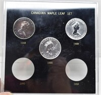 5 Canadian Silver Maple Leafs 1988, 1989, 1990