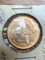 1881 Liberty 5 Dollar Gold Coin