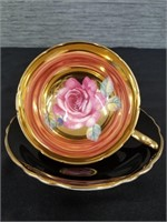 PARAGON PINK CABBAGE ROSE heavy gold cup & saucer