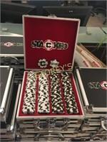 100 White & 100 Black Poker Chips w/ Case