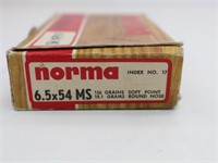 (20 rds. Ammo) Norma 6.5x54 MS 156 Gr. Soft Point