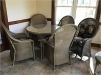 Lloyd Flanders Loom Wicker Table & Chairs