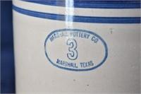 Marshall 3-Gal Stoneware Crock- Marshall, Texas