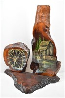 Hand Painted & Signed Varnished Wood Slab Clock