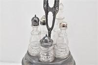 Pewter Ornate Condiment Holder 5-Glass Bottles