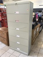 Metal file cabinet, approx 36x14x76 inches