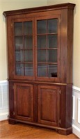Walnut corner cupboard, 2 part, top has crown