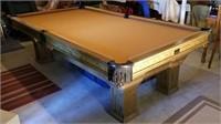 Historic Custom Built Peters 9ft Slate Pool Table