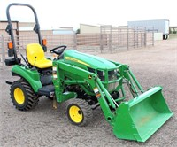 Lot 5002: John Deere 2023 E Tractor w/FE Loader   Absentee bidding available on this item. Click catalog tab for more information & pictures.
