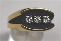 14K 3 Diamond Man's Ring .50 Carat Total