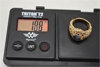 14K Heavy Freeform Blue Montanan Sapphire  Ring