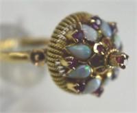 Gorgeous 14K Princess Style Opal & Ruby Ring