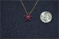 Beautiful 10K Ruby Star Necklace