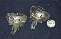 Silver Hinged Bangle Bracelet & Elephant Earrings