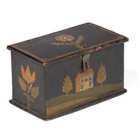 Jonas Weber (Lancaster Co., PA, 1810-1876) paint-decorated pine trinket box