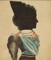 American folk art hollow-cut silhouette with watercolor highlights (c.1830), possibly by the Puffy Sleeve Artist