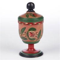 Joseph Lehn (Lancaster Co., PA, 1798-1892) paint-decorated treenware saffron cup