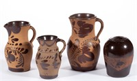 Good selection of 19th-century Western PA decorated tanware articles