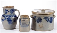 Good selection of 19th-century American cobalt-decorated stoneware