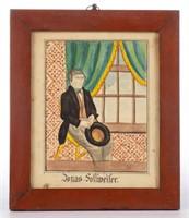 Reading Artist (Bucks Co., PA, active 1828-1845) folk art watercolor portrait of Jonas Follweiler