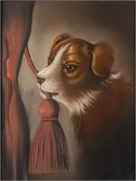 19th-century American folk art pastel of a puppy - Swinehart Collection