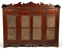 Rare Valley of Virginia punched-tin-paneled cherry and walnut sideboard safe, retaining likely original surface