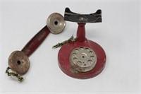 Vintage Red Metal Toy Telephone