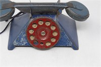 Vtg Blue Metal Pyramid Style Toy Phone w Red Dial