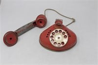 Vtg. Red Metal Child's Rotary Toy Phone