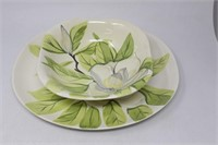 RED WING Chartreuse Magnolia Platter & Bowl