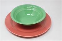 Homer Laughlin Harlequin ROSE Platter & Green