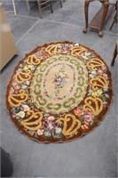Vintage Oval Floral Hooked Area Rug