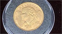 GOLD: 1935 Swiss Gold 20 Francs Helvetia Coin