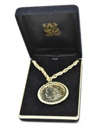1921 D Gold Plated Morgan Silver Dollar Necklace