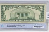 1953 $5 Silver Certificate, Blue Seal, Regular