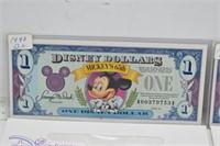 1991 &  1993 Disney Dollars w/ Original Envelopes
