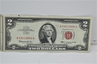 Two 1953 & 1963 Red Seal Two Dollar Bills