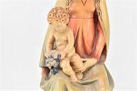 ANRI Style Italian Carved Seated Madonna Figurine