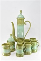 9Pc Mid Century Green Coffee Set w/ Cream & Sugar