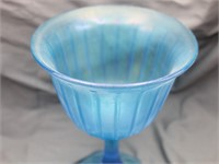 Blue Satin Iridescent Pedestal Compote