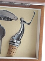 Wood Boxed Bar Set Golf Theme- Bottle Opener,