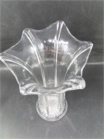 (2) Stretch Glass Vases Crimped Edge