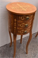 (2) Carved Inlay Round Side Tables w/3-Drawers