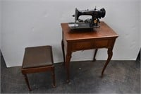 Vintage SINGER Sewing Machine w/Table & Bench