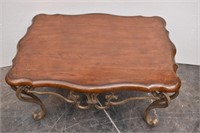 Wood Top Coffee Table w/ Curved Wrought Iron Legs