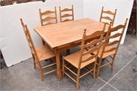 Draw-Leaf  Farmhouse Table w/6 Ladder Back Chairs