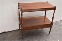 Double Shelf Single Drawer End Table w/ Rollers