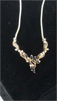 Diamond & Blue stone (Sapphire?) Necklace